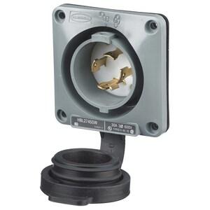 Hubbell-Wiring Kellems HBL2745SW LKG WT S/SHRD FL-INLT, 30A3P 600V,L5-30P