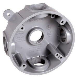 "Hubbell-TayMac PRB57550GY Weatherproof Box, 4"" Round, Depth: 1.125"", Non-Metallic"