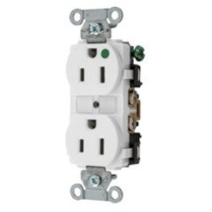 Hubbell-Kellems 8200WHI Hospital Grade Duplex Receptacle, 15A, 125V, 5-15R, White