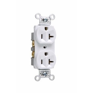 Pass & Seymour CR20-W 20 Amp, 125 Volt, Commercial Specification Grade Duplex Receptacle, White