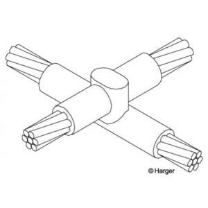 Harger Lightning & Grounding XO4/04/0I Cable Overlay Cross Connector