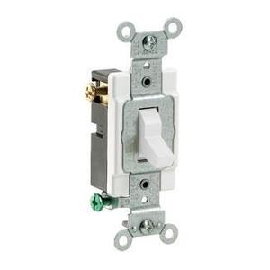 Leviton CS320-2W 3-Way Switch, 20 Amp, 120/277V, White, Side Wired, Commercial Grade