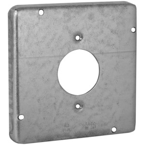 "Hubbell-Raco 887 4-11/16"" Square Exposed Work Cover, (1) 20A Single Receptacle"