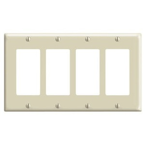 Leviton 80412-NT Decora Wallplate, 4-Gang, Nylon, Lt. Almond
