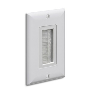 Arlington CED135WP Wallplate, with Insert, Decora, Brush-style Opening, White