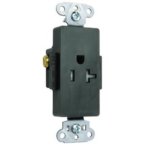 Pass & Seymour TR26361-BK DECO REC SGL TAMPER RES 20A/125V BK