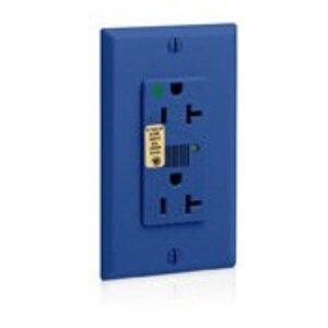 Leviton 8380-B Decora Duplex Receptacle, 20A, 125V, 5-20R,Hospital Grade, Blue
