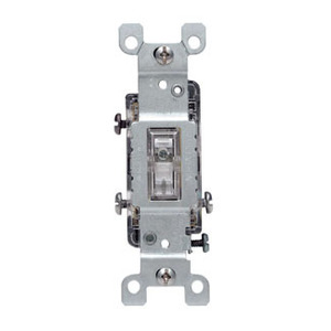 Leviton 1463-LHC 3-Way Lighted Handle Toggle Switch, 15A, 120V, Clear, LIT WHEN OFF *** Discontinued ***
