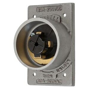 Hubbell-Kellems HBL20418 3P4W, 30A 600V AC Max, Black Phenolic