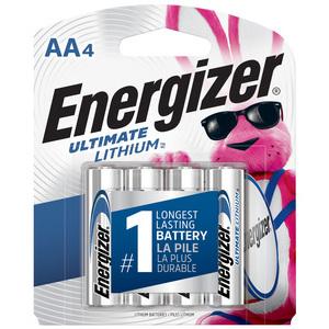 Energizer L91SBP-4 Battery, Lithium, 1.5 Volt, Size: AA, 2900 mAh, 4 Pack