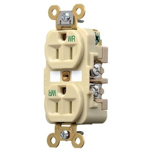Hubbell-Wiring Kellems HBL5262IWR WR RCPT, DUP, SB, HD SPEC, 15A 125V, IV