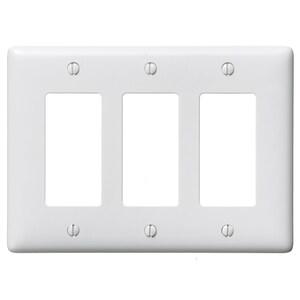 Hubbell-Bryant NP263W Decora Wallplate, 3-Gang, Nylon, White