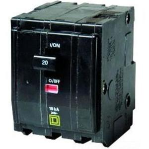 Square D QO320 Breaker, QO Type, 20A, 3P, 120/240VAC, 10kAIC, Stab On