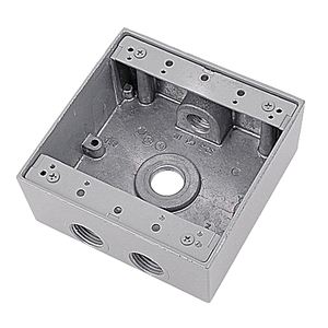 "Red Dot 2IH4-1 Weatherproof Outlet Box, 2-Gang, 2-1/16"" Deep, (4) 1/2"" Hubs"