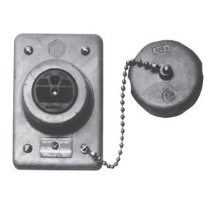 Cooper Crouse-Hinds DS222 Grounding Type Receptacle, 1-Gang, 20A, 120V, NEMA 5-20R, Iron Alloy, Limited Quantities Available