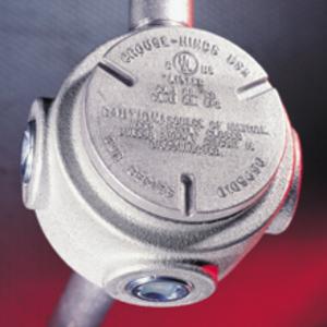 "Cooper Crouse-Hinds GUR2 Conduit Outlet Box, Type GUR, (4) 3/4"" Hubs, Malleable"