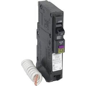 Square D QO120DF Breaker, 1P, 20A, 120VAC, Dual Function, AFCI/GFCI