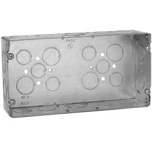 "Hubbell-Raco 942 Gang Box, 3-Gang, 2-1/2"" Deep, 1/2"" & 3/4"" KOs, Welded, Metallic"