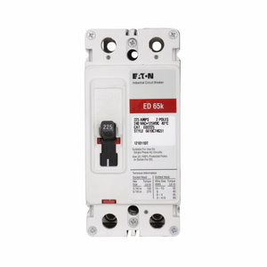 Eaton ED2060 Breaker, Molded Case, 2P, 60A, 240VAC, 125VDC, 65kAIC, Load Lugs