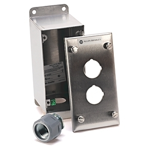 "Allen-Bradley 800H-2HZ4 Enclosure, 2-Hole, Stainless Steel, 1 x 3/4"" Hub, NEMA 4/4X/13"