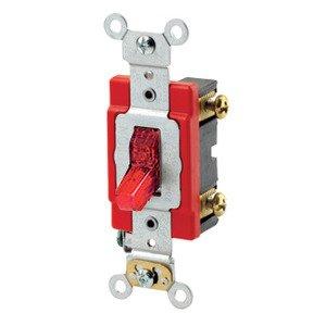 Leviton 1221-7PR Single-Pole Pilot Light Toggle Switch, 20A, 277V, Red, LIT WHEN ON
