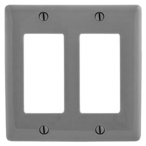 Hubbell-Bryant NP262GY Decora Wallplate, 2-Gang, Nylon, Gray