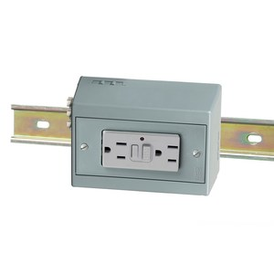 Hubbell-Wiring Kellems DRUBGFI15H DIN-R UTL BOX,15A 125V,DUP,GFCI,HORIZ,GY