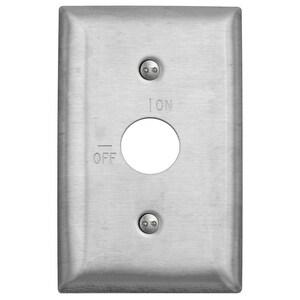 Hubbell-Wiring Kellems SS12RKL Barrel Key Switch Wallplate, 1-Gang, On/Off Markings, Stainless Steel