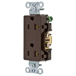 Hubbell-Wiring Kellems DR20 Decora Duplex Receptacle, 20A, 125V, Brown, 5-20R