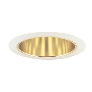 "Juno Lighting 206-GWH Cone Trim, Deep, 5"", BR30/PAR30, Gold Alzak Reflector/White Ring"