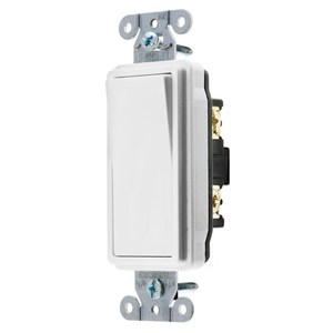 Hubbell-Kellems DS115W Decora Switch, 1-Pole, 15A, 120/277VAC, White