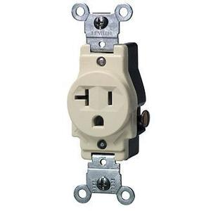 Leviton 5801-I Single Receptacle, 20A, 125V, 5-20R, Ivory