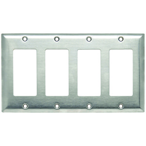 Hubbell-Wiring Kellems SS264 Decorator Wallplate, 4-Gang, Stainless Steel