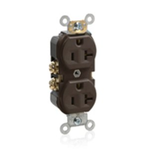 Leviton BR20 20A Duplex Receptacle, 125V, 5-20R, Brown, Back/Side Wired, Spec Grade