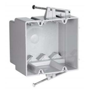 "Pass & Seymour S235-RACMH Switch/Outlet Box, 2-Gang, Depth 3"", Nail-On, Non-Metallic"
