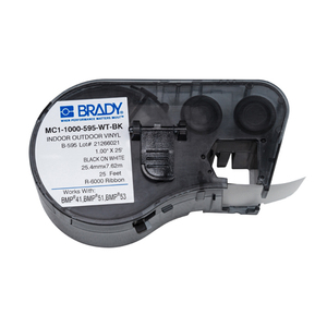 Brady MC1-1000-595-WT-BK Label Maker Cartridge