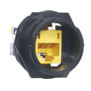 Hubbell-Premise HI5E Cat5e Connector, Panel Mount, High Impact, IP67, Yellow, Gasket *** Discontinued ***