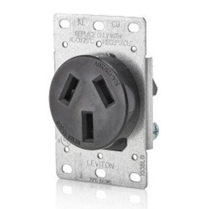 Leviton 5206-S00 50 Amp Flush Mount Receptacle, 125/250V, 10-50R, 3P3W, Non-Grounding