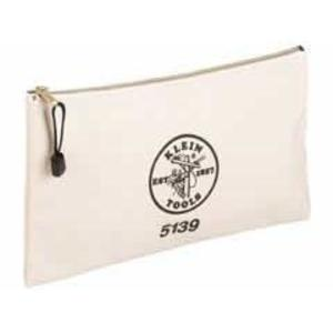 Klein 5139 Canvas Zipper Bag - White, Brass Zipper