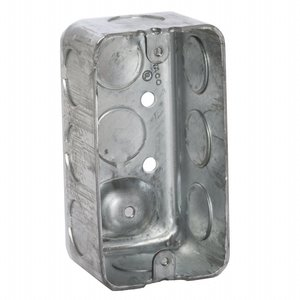 "Hubbell-Raco 660 Handy Box, 1-7/8"" Deep, 1/2"" KOs, Drawn, Metallic"