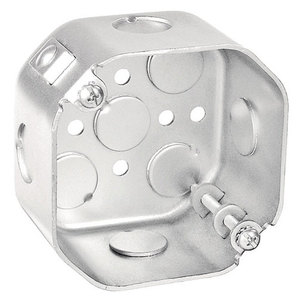 "Garvin Industries 54171-FANNB 4"" Octagon Box, Drawn, Metallic, 2-1/8"" Deep, 1/2"" Knockouts"