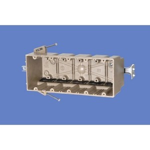 """Allied Moulded 5305-NBK Switch/Outlet Box, Depth; 3-9/16"""", 5-Gang, Non-Metallic"""
