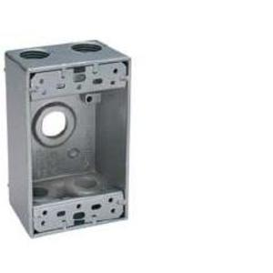 "BWF B75-22V Weatherproof Outlet Box, 1-Gang, 2"" Deep, (5) 3/4"" Hubs, Aluminum"