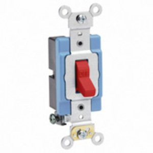 Leviton 1201-2R Single-Pole Toggle Switch, 15A, 120/277V, Red, Industrial Grade