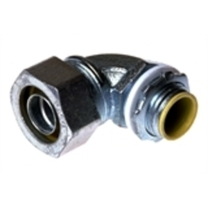 "Hubbell-Raco 3543 Liquidtight Connector, 90°, 3/4"", Malleable Iron, Insulated"