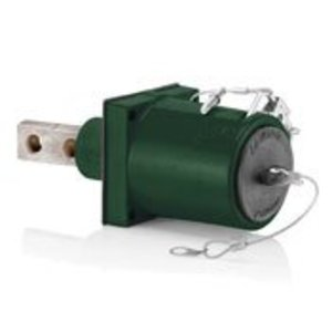 Leviton 49MR2-XG Panel Mounted Receptacle, Male, 45°, 2-Pole, 1135A, 1000V, Green