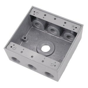 "Red Dot 2IH7-2 Weatherproof Outlet Box, 2-Gang, 2-1/16"" Deep, (7) 3/4"" Hubs"
