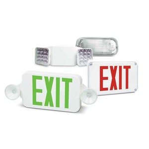 Fulham FHEC30WR LED Exit Sign/Emergency Light Combo, 120/277V Input