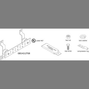 "Harger Lightning & Grounding GBI14212TGBKT Grounding Busbar Kit, w/Hardware, 1/4"" H x 2"" W x 12"" L, Copper"