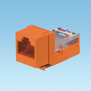 Panduit NK5E88MORY Snap In Connector, NetKey, Cat5e, Leadframe, UTP, Orange